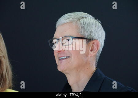 San Jose, USA. 03rd June, 2019. Apple CEO Tim Cook at WWDC 2019. At the developer conference, a new professional Mac Pro computer in a special design was presented. Credit: Christoph Dernbach/dpa/Alamy Live News - Stock Photo