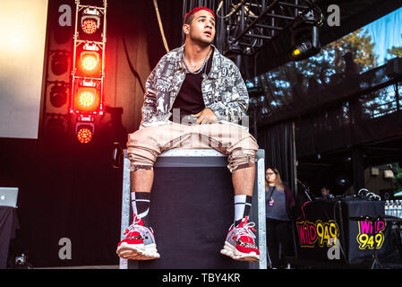 MOUNTAIN VIEW, CALIFORNIA - JUNE 2: Richard Camacho of CNCO performs during Wild 94.9's Wazzmatazz at Shoreline Amphitheatre on June 2, 2019 in Mountain View, California. Photo: Chris Tuite/imageSPACE/MediaPunch - Stock Photo