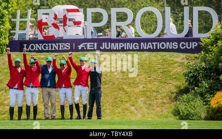 Langley, British Columbia, CAN. 2nd June, 2019. Team Mexico poses before the LONGINES FEI Jumping Nations Cupª of Canada at Thunderbird Show park on June 2 2019 in Langley BC Canada. Credit: Cara Grimshaw/ZUMA Wire/Alamy Live News - Stock Photo