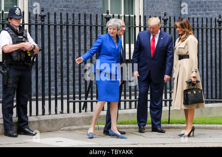 Downing Street, London, UK. 4th June, 2019. British Prime Minister Theresa May welcomes the US President Donald Trump and First Lady Melania Trump to No 10 Downing Street on the second day of the United States presidential state visit to the UK. Credit: Dinendra Haria/Alamy Live News - Stock Photo