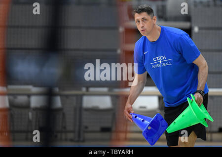 Stefan Svitek, Coach of the Czech Republic national basketball team, attends a training session prior to the European Championship (FIBA Women's EuroBasket 2019), on June 4, 2019, in Prague, Czech Republic. (CTK Photo/Ondrej Deml) - Stock Photo