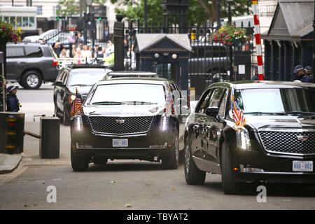 London, UK. 04th June, 2019. 'The Beast' vehicle bringing Donald Trump (President of the United States), and First Lady Melania Trump, arrives in Downing Street. The President met The Prime Minister during his state visit to the UK. Donald Trump, State visit, Downing Street, London, UK on June 4, 2019. Credit: Paul Marriott/Alamy Live News - Stock Photo