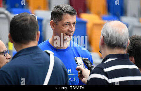Stefan Svitek, center, Coach of the Czech Republic national basketball team, attends a training session prior to the European Championship (FIBA Women's EuroBasket 2019), on June 4, 2019, in Prague, Czech Republic. (CTK Photo/Ondrej Deml) - Stock Photo