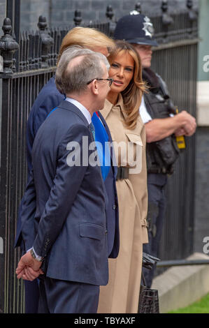London, United Kingdom. 4th June, 2019. UK Prime Minister Theresa May greets US President Donald Trump at Downing Street in London. Credit: Peter Manning/Alamy Live News - Stock Photo
