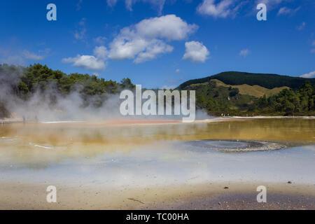 Champagne pool in Wai-O-Tapu thermal wonderland in Rotorua, New Zealand. - Stock Photo