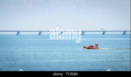 Lisbon, Portugal - May 7, 2018 - Rescue boat sailing on the Tagus River on a spring day - Stock Photo