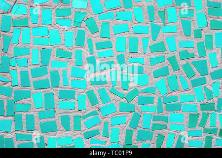 Closeup of trendy mint coloured abstract mosaic ceramic tiles patterned background - Stock Photo
