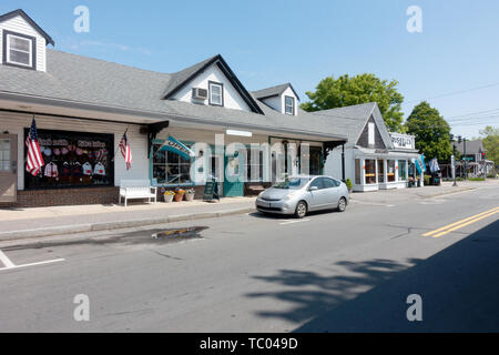 Shops in Sandwich Center, Cape Cod, Massachusetts - Stock Photo