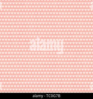 Dense cream white rows of hearts in horizontal brick repeat design. Seamless geometric vector pattern on textured pink background. Great for valentine - Stock Photo