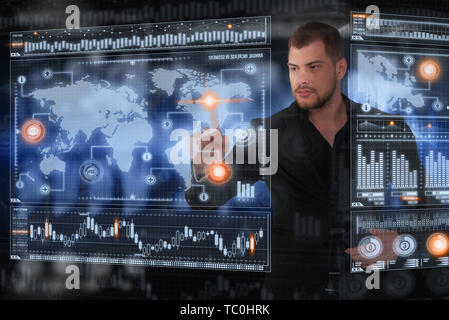 Businessman works with virtual holographic interface. Future technology concept - Stock Photo