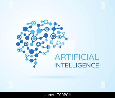 Artificial Intelligence (AI) vector logo. Artificial intelligence (AI), machine deep learning, data mining and another modern computer technologies co - Stock Photo