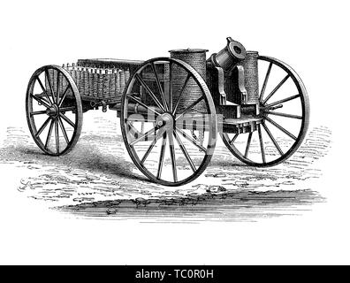 Cannon equipped with special bullets lauching a line for ship rescue or for attack - Stock Photo