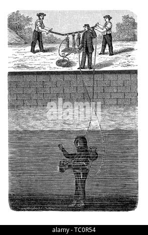 Diver with diving suit tests the air regulation and the communication equipment in a pool with the help of other workers, 19th century engraving - Stock Photo