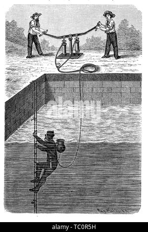 Diver with diving suit tests the air regulation equipment in a pool with the help of two workers, 19th century engraving - Stock Photo