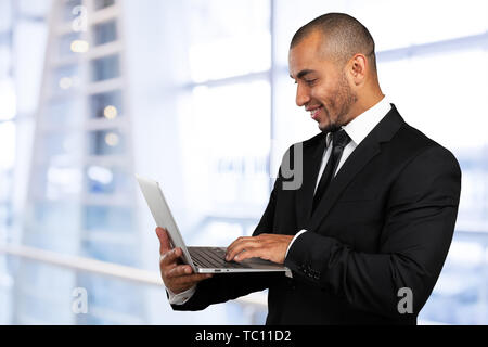 black business  man with laptop - Stock Photo