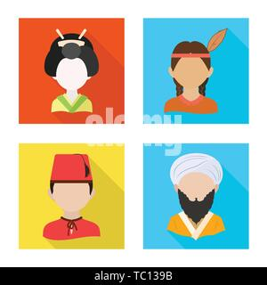 Vector illustration of nation and race  icon. Collection of nation and user stock symbol for web. - Stock Photo