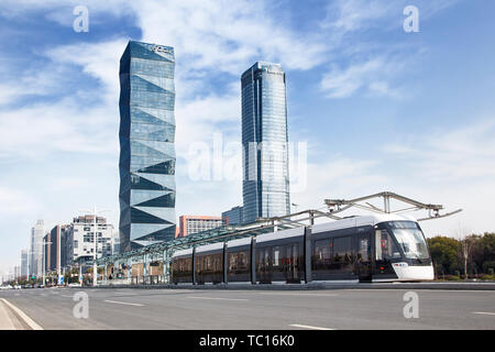 Light rail in Nanjing Olympic Sports New City - Stock Photo