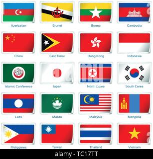 Sticker flags Eastern Asia. Vector illustration. 3 layers. Shadows, flat flag you can use it separately, sticker. Collection of 220 world flags. Accurate colors. Easy changes. - Stock Photo