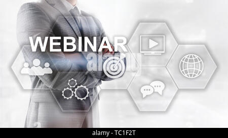 Webinar, Personal development and e-learning concept on blurred abstract background. - Stock Photo