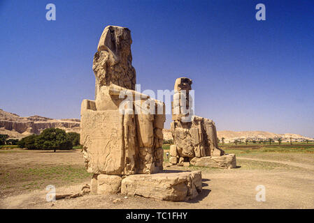 Luxor, Egypt. The Colossi of Memnon, two massive stone statues of the Pharaoh Amenhotep III standing in the Theban Necropolis on the west bank of the - Stock Photo
