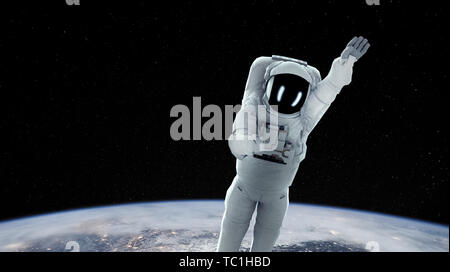 Earth man exploring the universe, developed technology, moving towards the mysterious universe, unlocking the mysteries of the universe. - Stock Photo