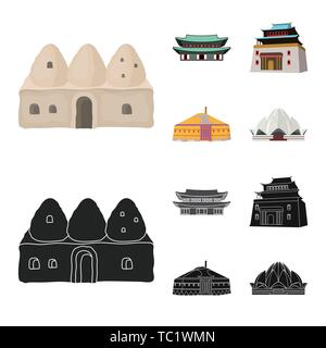 Vector illustration of town  and chinatown sign. Collection of town  and asian  vector icon for stock. - Stock Photo