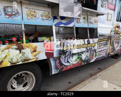 Side view of King Souvlaki Greek cuisine food truck in Bayside, Queens, New York, April 14, 2019. () - Stock Photo