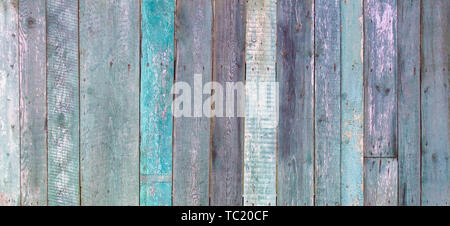 Old vintage shabby turquoise weathered painted wood banner background - Stock Photo