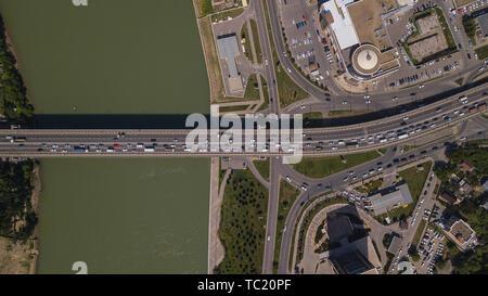 Top down view of urban city traffic jam on car bridge - Stock Photo