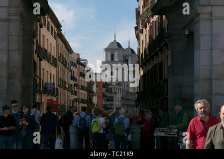 Madrid, Spain - May 2018 : Busy street in Madrid with Colegiata de San Isidro in background - Stock Photo