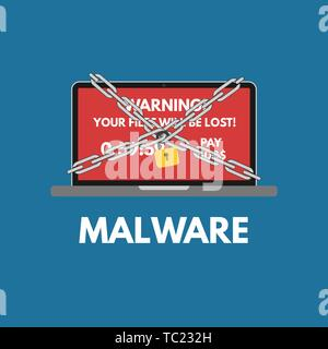 Malware cyber attack. Red alert notification and padlock with chain on laptop . Ransomware virus encrypted files. Flat design - Stock Photo