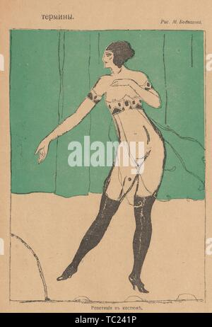 Cartoon from the Russian satirical journal Bichon, depicting a scandalously dressed female dancer, with the text 'Dress Rehearsal', 1917. () - Stock Photo
