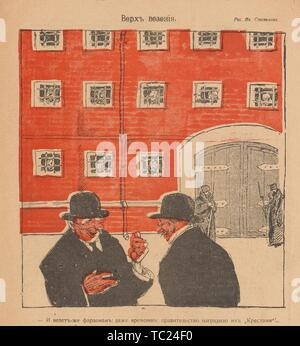 Cartoon from the Russian satirical journal Bich, depicting two men standing in front of a jail, with the text 'Pharaohs are lucky: even the Interim Government has awarded them 'Crosses', 1917. () - Stock Photo