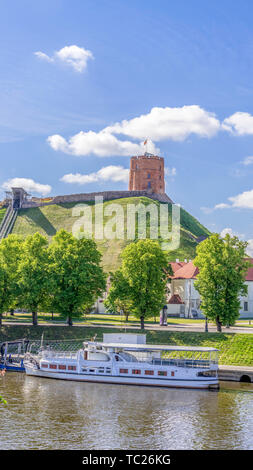 Vilnius city view with Gediminas castle tower in Vilnius, Lithuania - Stock Photo