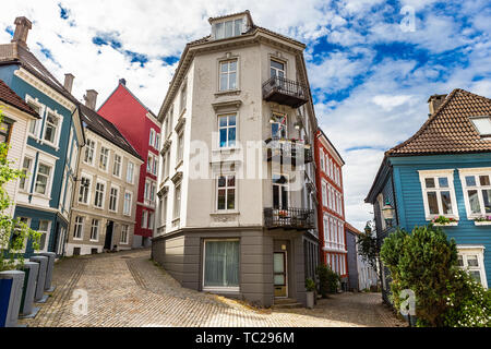 Traditional norwegian house in old part of Bergen.  Norway. - Stock Photo