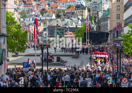BERGEN, NORWAY - April 14, 2019: Old firefighters vehicle on street in Bergen, Norway. - Stock Photo