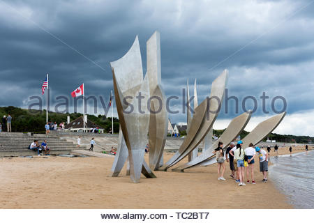Sculpture, Les Braves, at Omaha beach, commemorating the D Day landings, 6 June 1944, Normandy, France - Stock Photo