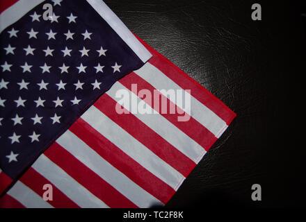 Usa flag on black leather - Stock Photo