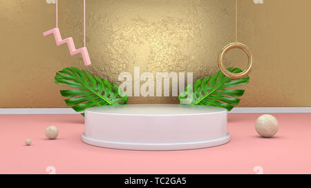 3d render abstract background with podium, spheres, golden elements and palm leaves in minimal pink Memphis style. - Stock Photo