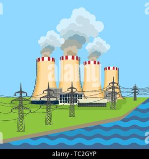 Working nuclear power plant near set of connected towers along flowing blue. Vector illustration of dangerous for environment and people anatomic nucl - Stock Photo