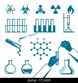 Molecular elements and special test tube black icons collection on white in flat style. Vector poster of warning signs, atomic structures, hands doing - Stock Photo