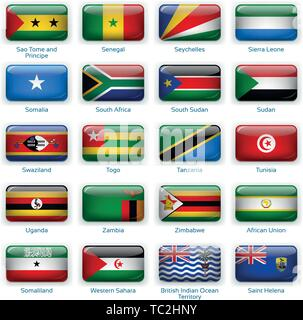 Button flags Africa three. Vector illustration. 3 layers. Shadows, flat flag you can use it separately, button. Collection of 220 world flags. Accurate colors. Easy changes. - Stock Photo