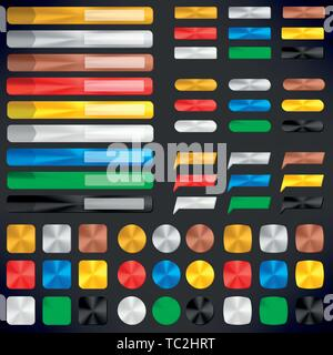Vector illustration. Metallic badges and buttons in different colors in shiny style. - Stock Photo