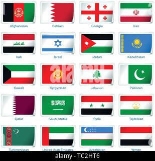 Sticker flags Western Asia. Vector illustration. 3 layers. Shadows, flat flag you can use it separately, sticker. Collection of 220 world flags. Accurate colors. Easy changes. - Stock Photo