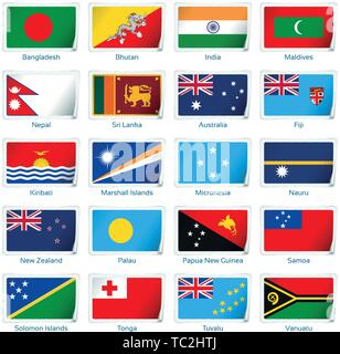 Sticker flags South Asia and Oceania. Vector illustration. 3 layers. Shadows, flat flag you can use it separately, sticker. Collection of 220 world flags. Accurate colors. Easy changes. - Stock Photo