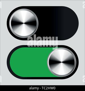 Vector illustration. Switch symbol in on and off positions. Metallic style. - Stock Photo