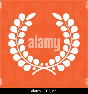 Vector illustration. Simple laurel wreath with seamless orange background. - Stock Photo