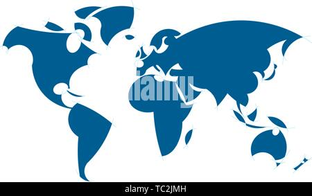 Vector illustration. Restricted stylish world map in plain blue. - Stock Photo