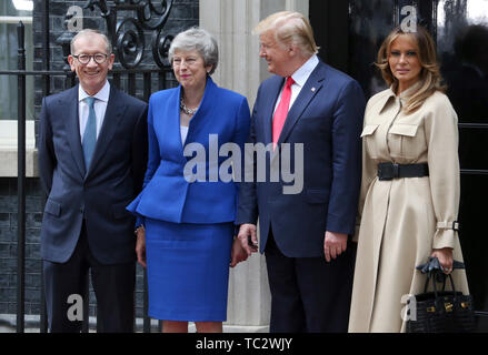 London, UK. 04th June, 2019. (L to R) Philip May, British Prime Minister Theresa May, US President Donald Trump and US First Lady Melania Trump visit number 10 Downing Street as part of Donald Trump official state visit to the UK. Credit: SOPA Images Limited/Alamy Live News - Stock Photo