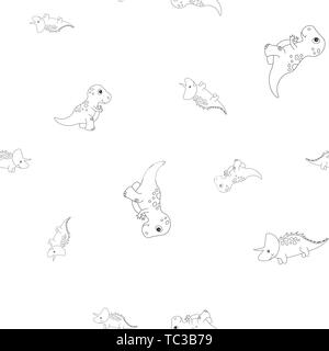Seamless pattern of contour of dinosaurus tyrannosaur and triceratops. Isolated on white background. Vector illustration. - Stock Photo
